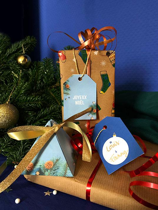 Boîte surprise - étiquettes cadeaux
